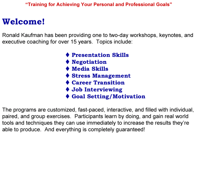 Ronald Kaufman website and workshops