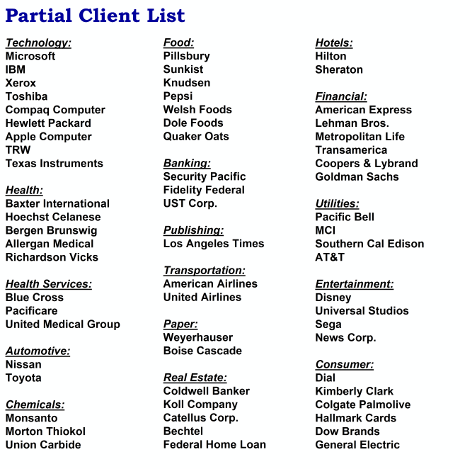 Ronald Kaufman partial client list